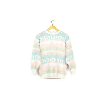 vintage pastel knit sweater / pullover / crewneck / kawaii jumper / 80s 90s / geometric pattern / ski / unique / pink white & lime green
