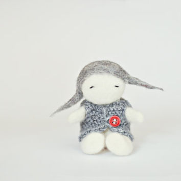 Ready to ship - Needle felted Christmas decoration/ Lovely girl with knitted sweater/  Felted doll/ Eco wool / Grey red / Christmas ornament