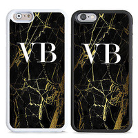 PERSONALISED MONOGRAM GOLD MARBLE INITIALS HARD CASE COVER FOR MOBILE PHONES