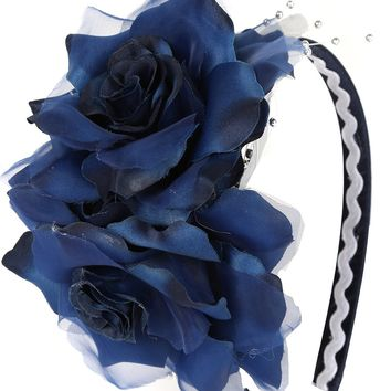 Girls Navy Blue Organza & Satin Double Flower Headband