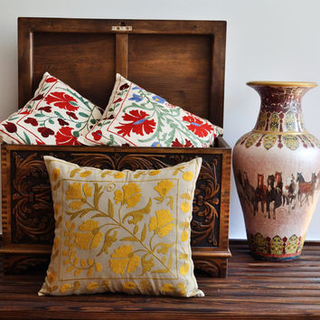 Suzani Pillows - Yellow Floral Vintage Suzani Pillow Cover - Hand Embroidered Using Silk Threads - Decorative Pillow - Throw Pillow