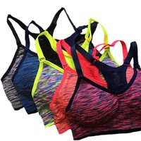 VEQKING Shakeproof Quick Dry Sports Bra,Women Padded Wirefree Adjustable Seamless Push Up Fitness Gym Yoga Running Tops