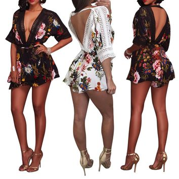 Summer Jumpsuit For Women 2018 Onesuit Floral Plus Size Rompers Overall Body En Dentelle Femme Spot Playsuit lace Macacao Curto