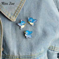 3pcs/set Enamel blue bird pin Cartoon flying fledgling Animal Brooch Denim Jacket Pin Buckle Shirt Badge Gift for Kids