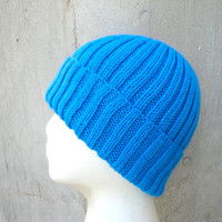 Azure Blue Hat, Watch Cap, Hand Knit, Soft Wool, Teens Men Women, Beanie