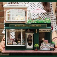 Limited Edition Wood Dollhouse Paris Coffee Shop Model DIY Kit w/Furniture LED & Music 1:24