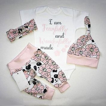 US 4PCS Newborn Baby Girls Panda Romper Bodysuit+Pants Outfits Set Clothes res