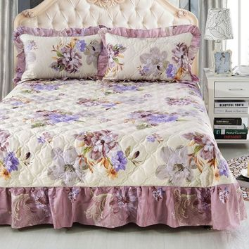 Orchid Beauties Ruffled Luxury Quilted Bedspread