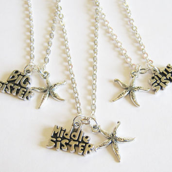 3 Big, Middle And Little Sisters Starfish  Bff Necklaces