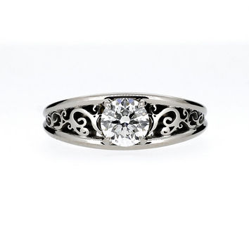 0.70ct GIA-certificated diamond engagement ring, filigree ring, diamond solitaire, unique, white gold, vintage style, diamond wedding ring
