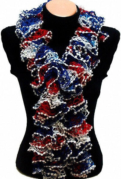 Independence Day Special Hand knitted Navy White Red ruffled scarf special for independence day