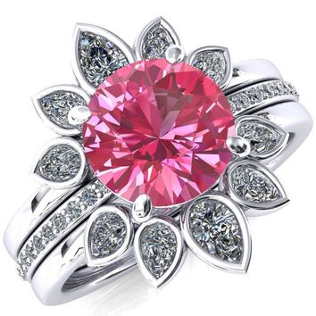Flora Round Lab-Created Pink Sapphire 1/2 Eternity Accent Diamond Ring