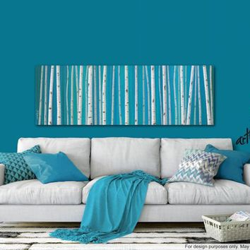 Panoramic birch tree painting canvas art print, Aspen Birch tree wall art, Turquoise teal blue & white