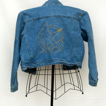 Hunger Games Mockingjay Embroidered Vintage Denim Jacket - M