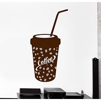 Vinyl Wall Decal Paper Coffee Glass House Decor Stickers Murals Unique Gift (ig4754)