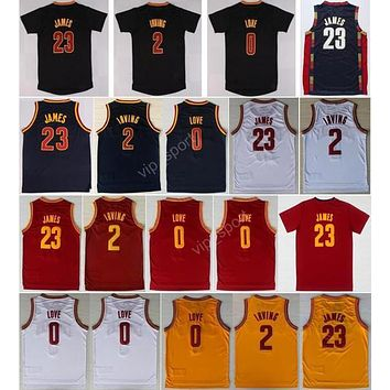Hot Sale 2 Kyrie Irving Basketball Jerseys Men Throwback 23 Lebron James 0 Kevin Love Jersey Sport All Stitched Red White Yellow Navy Blue - Danny Online