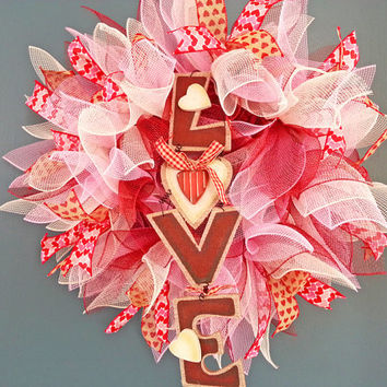 Valentines Day Love Pink Burgundy and White Deco Mesh Wreath
