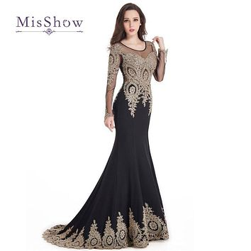 2017 Real Photos Long Sleeve Evening Dress With Scoop Neckline Sheer Back Mermaid Gold Lace Appliques Black Prom Party Gowns