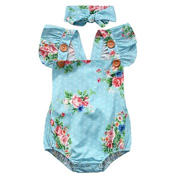 2Pcs/Set baby girls clothing Set Newborn Baby Girls Floral One-pieces Romper Sunsuit Headband Clothes Set 0-24M