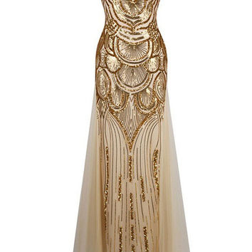 Golden Globe Awards Dress - Art Deco Gold Sequins