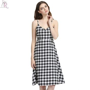 Black White Plaid Checker Cami Midi Skater Dress Monochrome Sleeveless Backless Casual Vintage Streetwear Women Summer