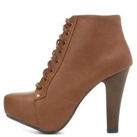 High Heel Lace-Up Platform Booties by Charlotte Russe - Cognac