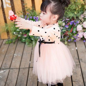 Sun Moon Kids Dress Girl Cotton 1-4 Years Bow Fluffy Mesh Wedding Dress Long Sleeve High Waist Dots Bridesmaid Dresses Girl