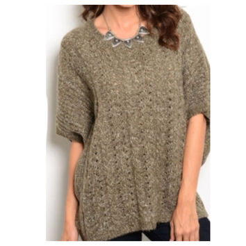 """""""Must Have"""" Butterfly 3/4 Sleeve Oversized Olive Knit Sweater"""