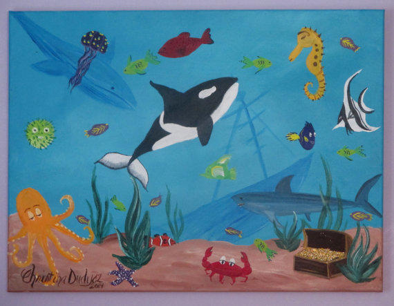 Under The Sea Painting on Canvas, from DreamyWalls on Etsy ...
