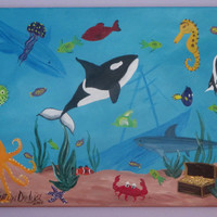 Under The Sea Painting on Canvas, Underwater Art, Bathroom Art, Shark, Whale, Fish, Crab, Octopus, Blue, Childrens Art