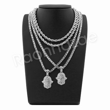 "ICED OUT HANDS OF HAMSA SILVER PENDANT W/ 24"" ROPE /18"" TENNIS CHAIN NECKLACE"
