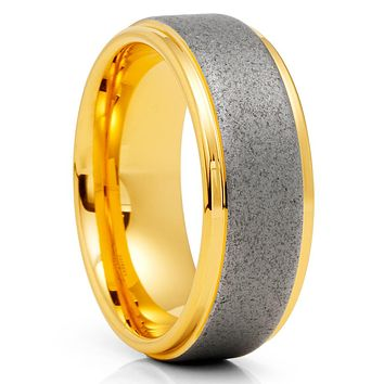 Yellow Gold Tungsten Ring - Sandblast Design - Gray Tungsten Ring  - 8mm