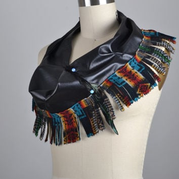 Strapless Leather Top - Leather Festival Top - Leather Scarf - Festival Accessories - Native American Inspired - Burning Man Clothing
