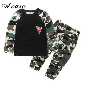 2018 New Camouflage Kids Clothing Sets for Boys Girls Spring Autumn Cotton Camo Teen Boy Sports Set Active Girls Clothes Suits