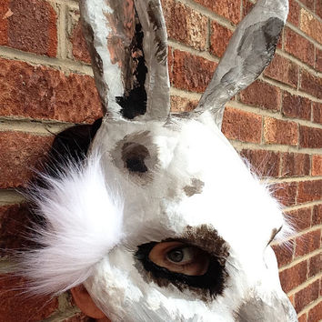 Rabbit Mask / Animal Mask / Paper Mache mask / Papier Mache mask / Original / Wild Rabbit/ British Rabbit/ masquerade