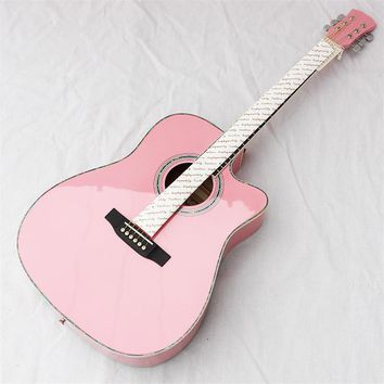 41-46 NEW 41 inch glossy paint pink color Acoustic Guitar Rosewood Fingerboard guitarra with tuner strings