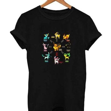 Pokemon Eevee Evolution T Shirt Size XS,S,M,L,XL,2XL,3XL