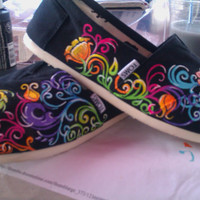 Swirlwind hand painted TOMS by PaintedLaceStudios on Etsy