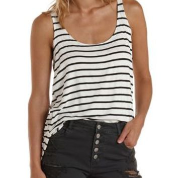 Black Combo Slouchy Striped High-Low Tank Top by Charlotte Russe