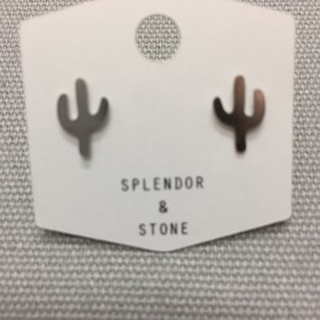 Silver Cactus Studs