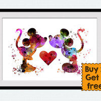 Mickey Mouse watercolor print Minnie Mouse art poster Mickey and Minnie in love art print Disney wall couple decor wedding Gift idea W692
