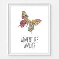 Butterfly Art Print 'Adventure Awaits' Map Butterfly, 5x7, 8X10, 11x14 Nursery Wall Art, Nursery Decor, Baby Wall Art, Girls Room Wall Art