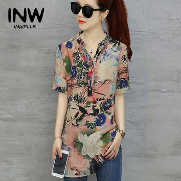 Plus Size Tops Womens Vintage Floral Print Blouses Mujer Short Sleeve Shirts Casual Cotton Linen Blusas Long Chemise Femme