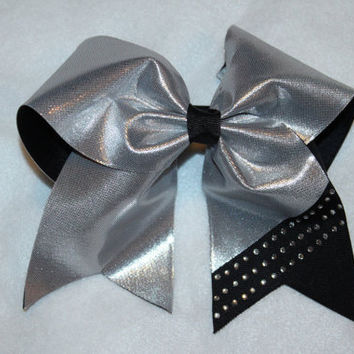 Rhinestone, silver and black cheer bow