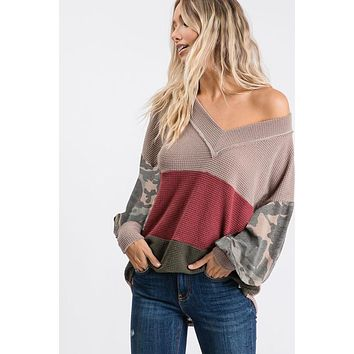 Mocha Colorblock Waffle Knit Top with Camo (S-XL)