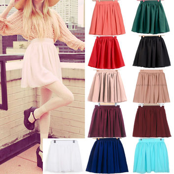 Vintage Retro Double Chiffon High Waist Short Pleated Mini Skirt Dress Candy
