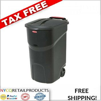 45 GALLON WHEELED TRASH CAN Lid Garbage Container Outdoor Waste Bin Basket Wheel
