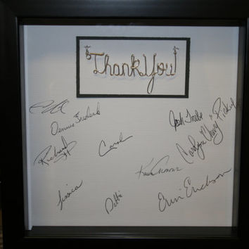 Thank you. Wire name. Signature box. Personalized. appreciation. shadowbox. autograph. teacher. teacher gift idea.