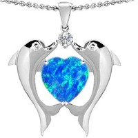 Star K Kissing Dolphins Pendant 8mm Heart-Shape Blue Simulated Opal