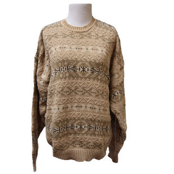 Beige Oversize Sweater with Horizontal Tribal Print Size Large
